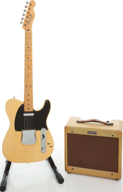 1952 fender telecaster and 1955 fender champ amplifier vintage electric guitar our. Black Bedroom Furniture Sets. Home Design Ideas