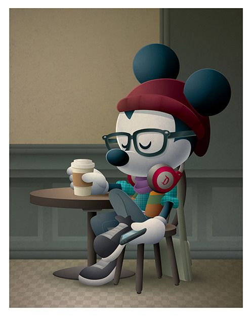 Cafe Hipster - New Hipster Mickey art coming to WonderGround Gallery Saturday, February 6th. I'll be there from 11am - 1pm. Come say hello and check out all the new art. Plus, the new Hipster Mickey Vinylmation will make its debut as well.