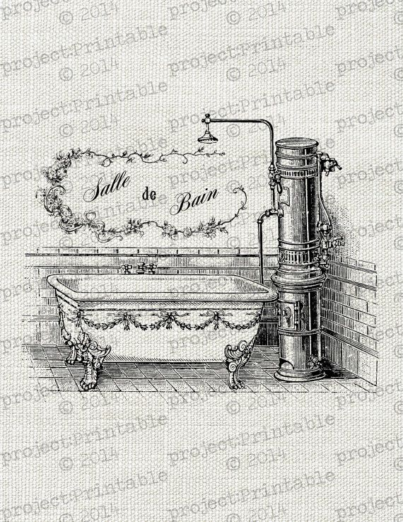 Bathroom Signs To Download vintage bath shower salle de bain fabric image transfer - french