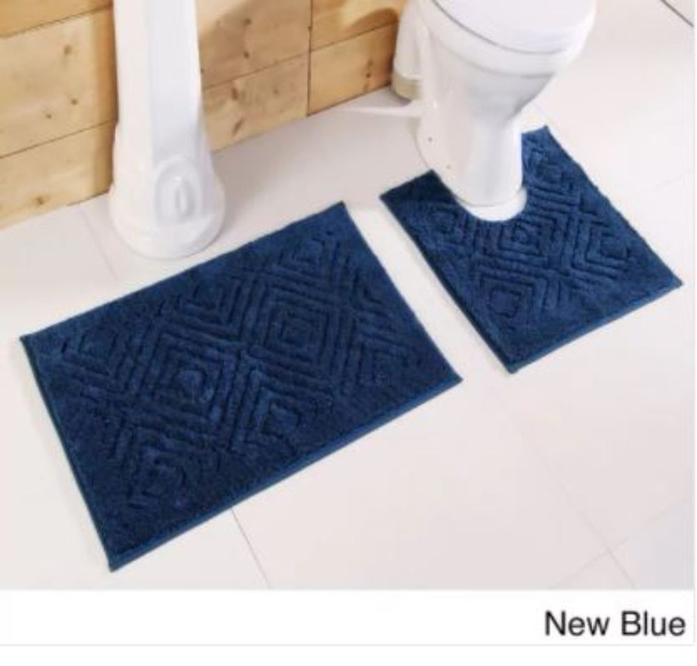 New Blue Cotton Chevron Tufted Bathroom Rug Decor Non Skid Backing Set Of 2