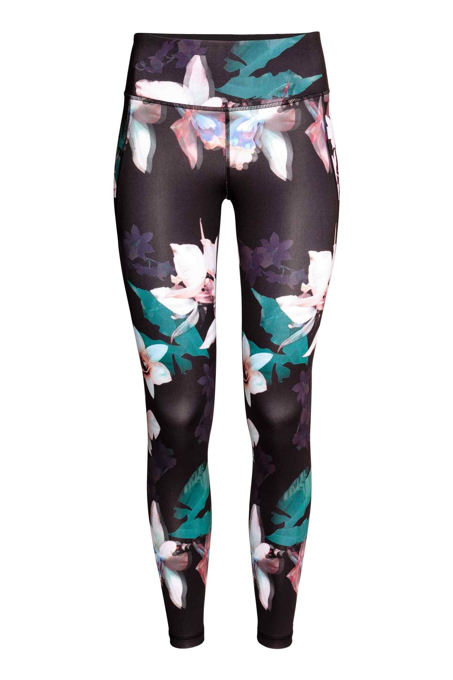 Legginsy Treningowe Czarny Kwiaty Ona H M Pl Athletic Outfits Floral Gym Leggings Sporty Outfits