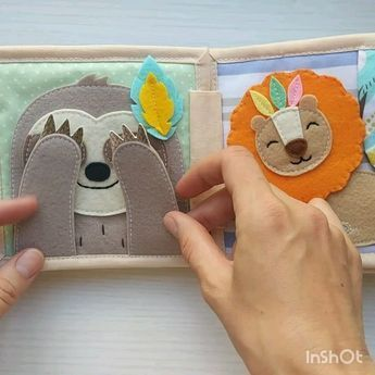 Mini quiet book of 8 developing pages, soft book i