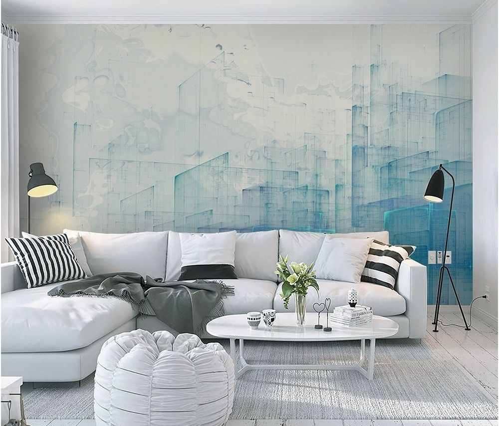 Abstract Blue Monochrome City Landscape Wallpaper Mural