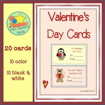 """Included in this unit are 10 color and 10 black and white Valentine's Day cards.  With sayings such us """"You are beary special to me"""" and """"Be Mine"""" with fun characters to accompany them, your cards will be a hit.  Other Valentine's Day units include:Valentine's Day Writing Paper Valentine's Day Silly Sentences for Fluent Readers Angel and Hearts Writing PaperValentine's Day Math StationsValentine's Day Fun…"""