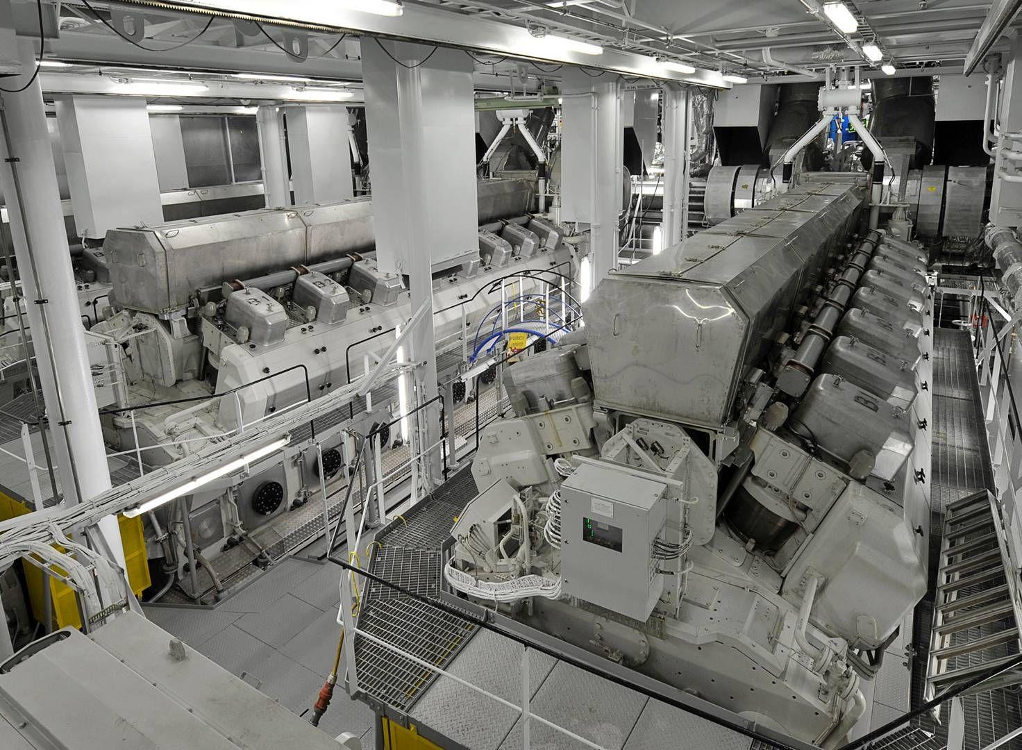 Wärtsilä-motorene til cruiseskipet Allure of the Seaser er spekket med sensorer. Informasjonen som går til kontrollrommet på skipet, kan like gjerne sendes til land. Foto: Wärtsilaä/JOUNI SAARISTO