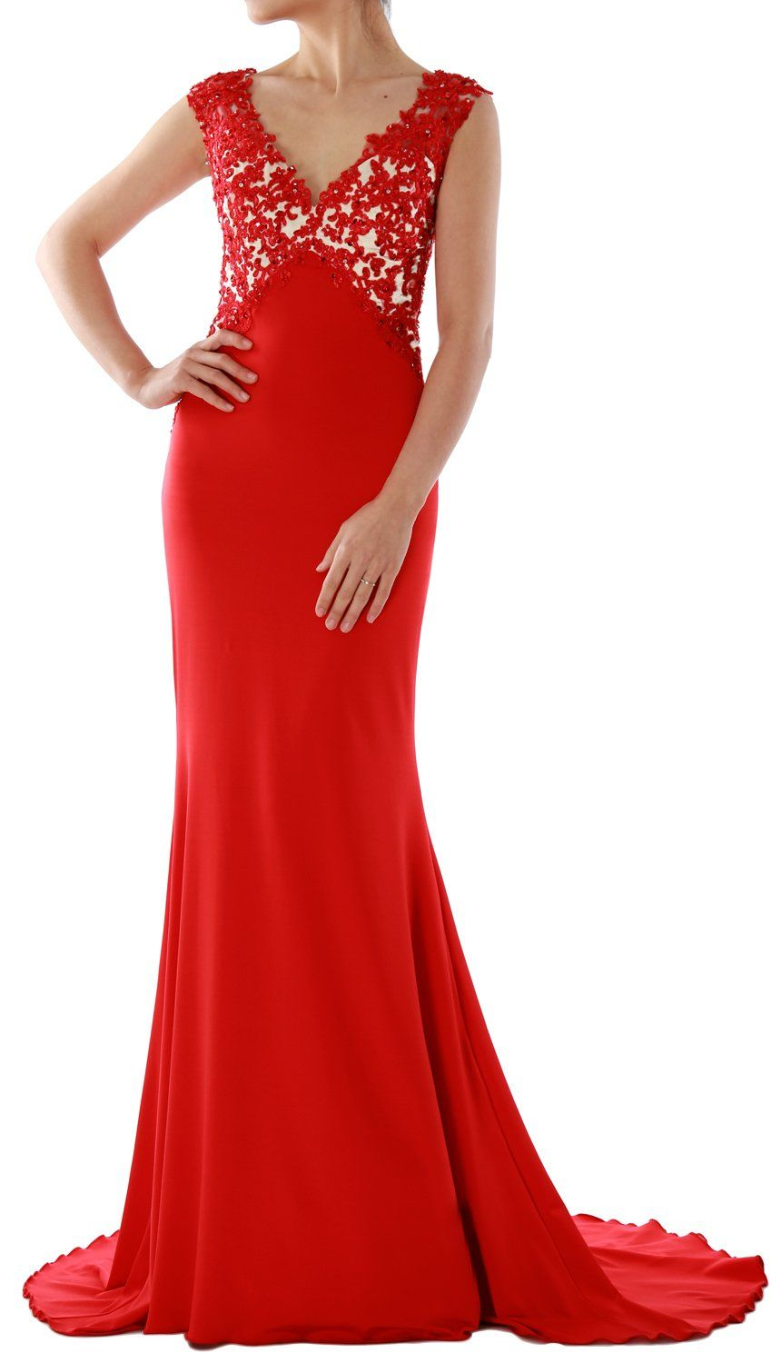 Macloth women mermaid lace jersey long evening dress prom party