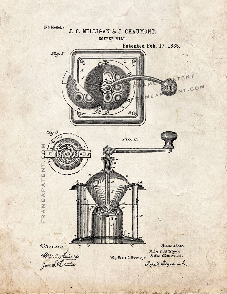 c1df945c9990f Coffee Mill Patent Print - Old Look (5x7) | Cooking Patent Prints ...