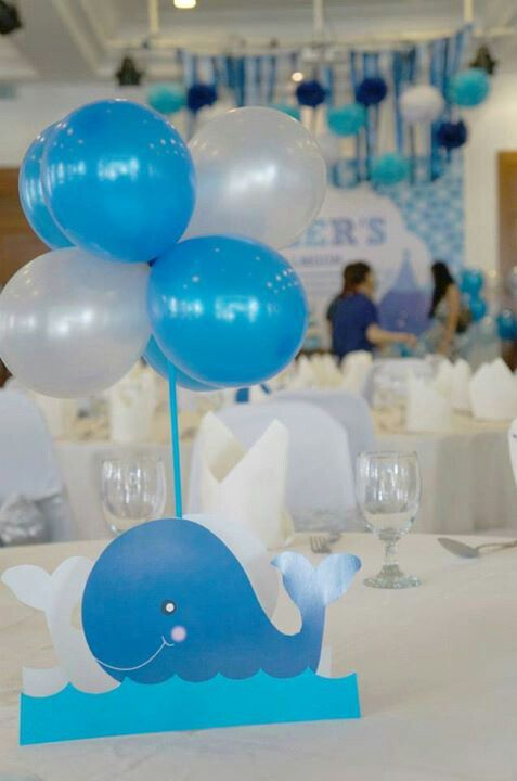 Whales  Whales baby shower, Baby shower centerpieces, Whale baby