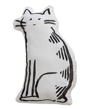 Another great find on #zulily! Black & White Embroidered Cat Throw Pillow #zulilyfinds