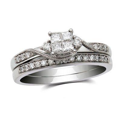 tw princess cut quad diamond bridal set in 10k white - Zales Wedding Rings Sets