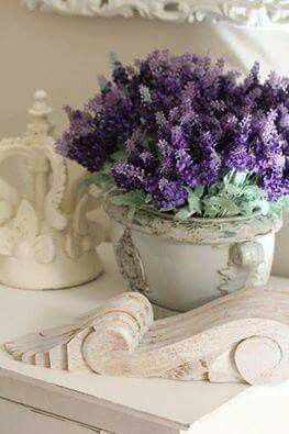 Elegant Display Of Aroma I Often Ignore Elements At Thrift Stores That With Flat White And Aging Would Be Perfect For Vignette Bloemstukken Planten Lavendel