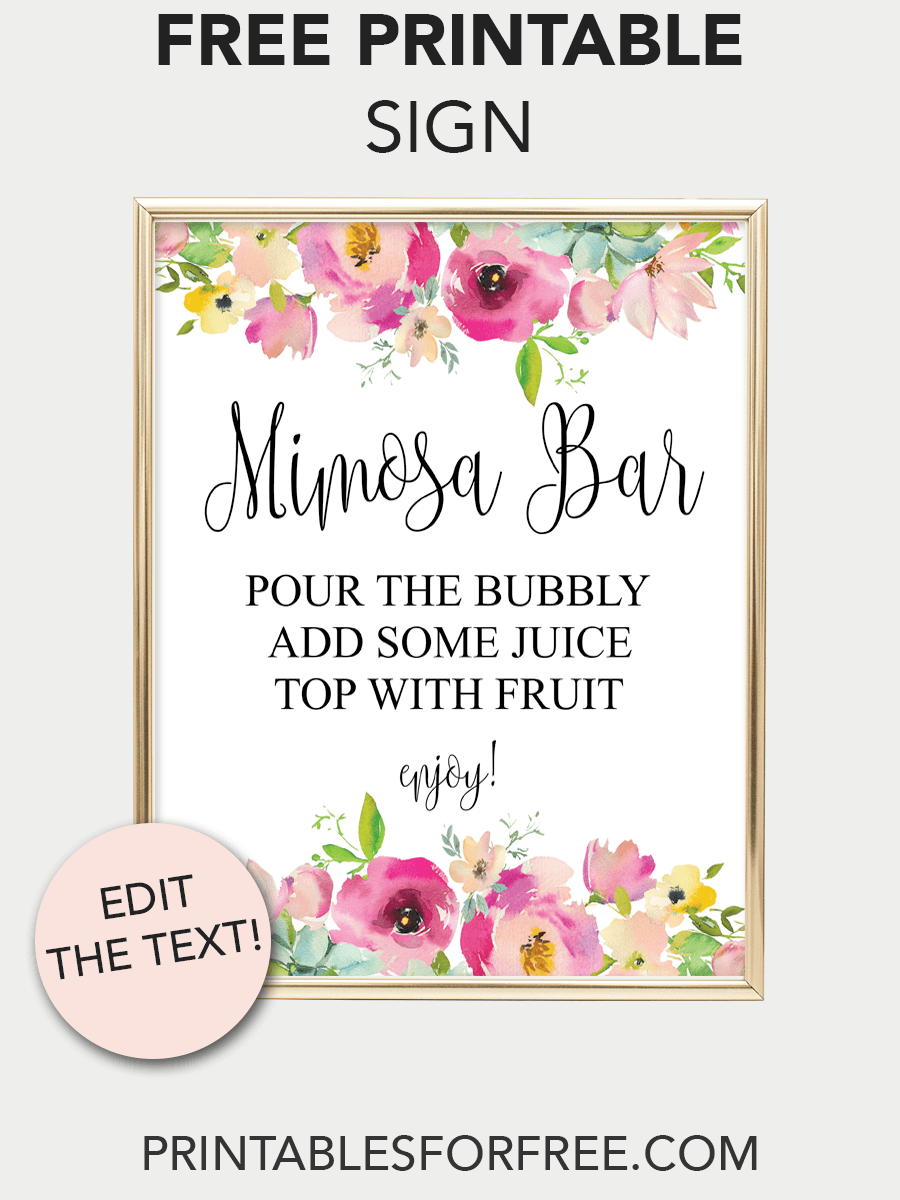photo relating to Free Printable Mimosa Bar Sign called Mimosa Bar Printable Indication (Red Floral Kid D inside 2019