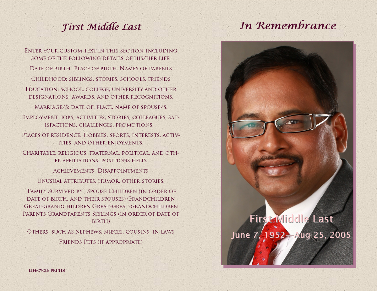 Memorial Service Program Templates  Ziel Templates
