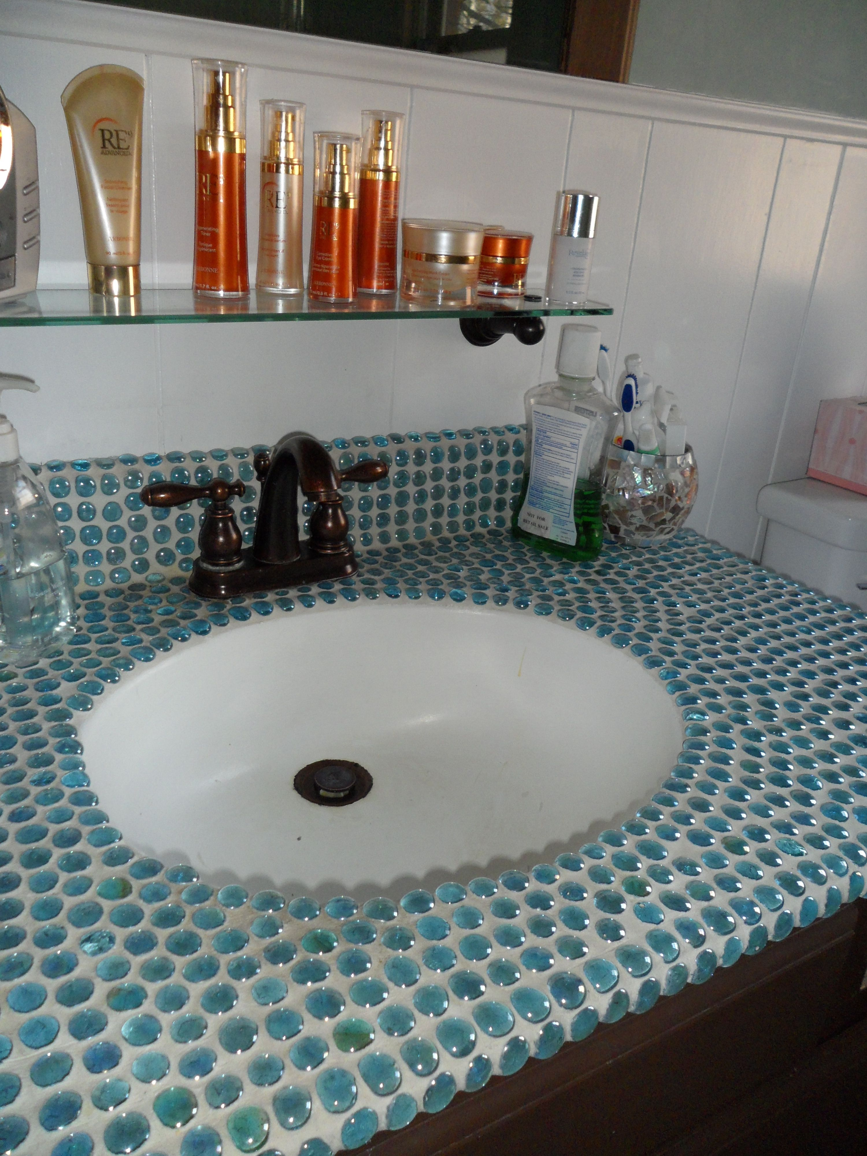 Update Your Countertops By Using Gl Beads From The Hobby Glue Them To An Old Marbelite Vanity Top Grout It Less Then 25 00