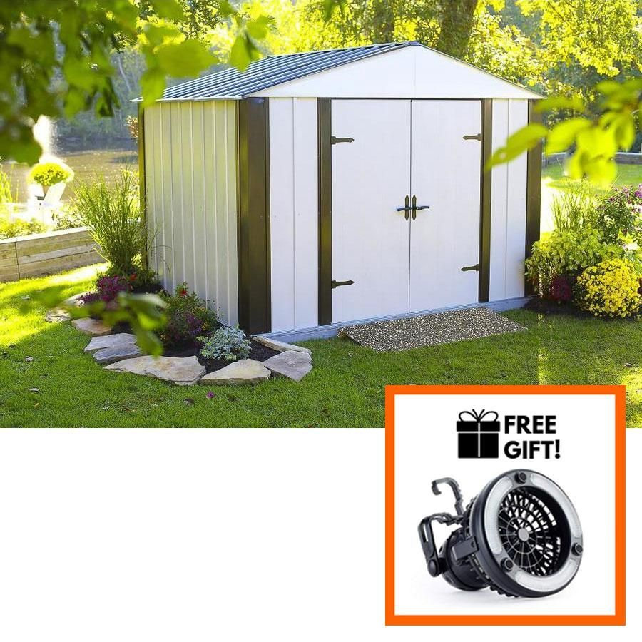 Arrow Designer Series 10 X8 X71 3 Hot Dipped Galvanized Steel Shed With Swing Doors Tuff Nest Steel Sheds Shed Makeover Roof Colors