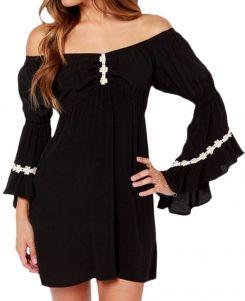 Daisy-appliqued Off-the-shoulder Mini Dress