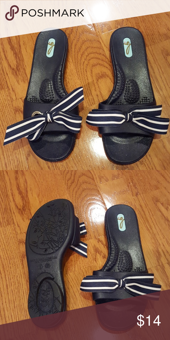 a30f6f1ad0069b Oka b. Cute Slip on Shoes. Navy with Blue Bow These are like new and oh so  adorable! We love when people bundle! OKA b. Shoes Sandals