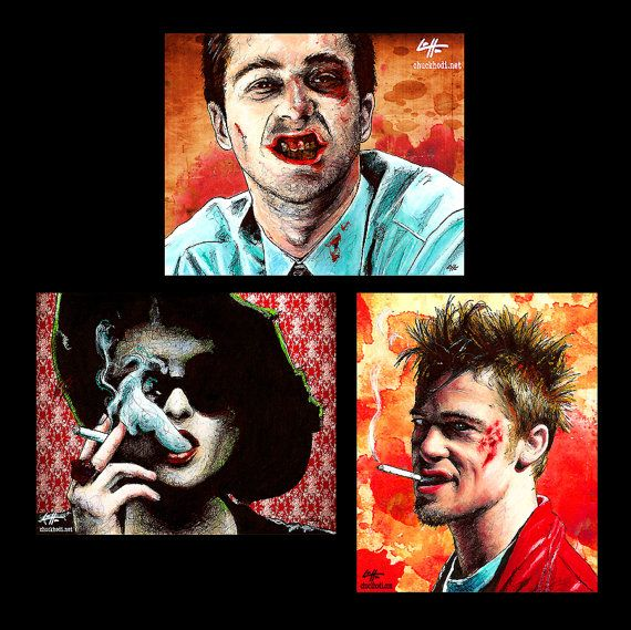 Prints 8x10  Fight Club  Tyler Durden Edward Norton by chuckhodi