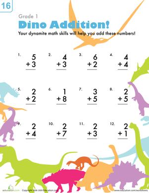 dinosaur addition addition worksheets worksheets and math. Black Bedroom Furniture Sets. Home Design Ideas