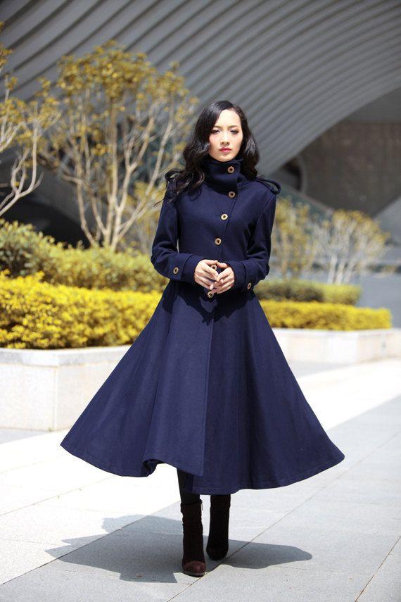 Navy Blue Coat Big Sweep High Collar Women Wool Winter Coat Long ...