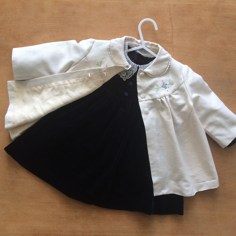 1950s Vintage girls baby coat and navy blue velvet party dress