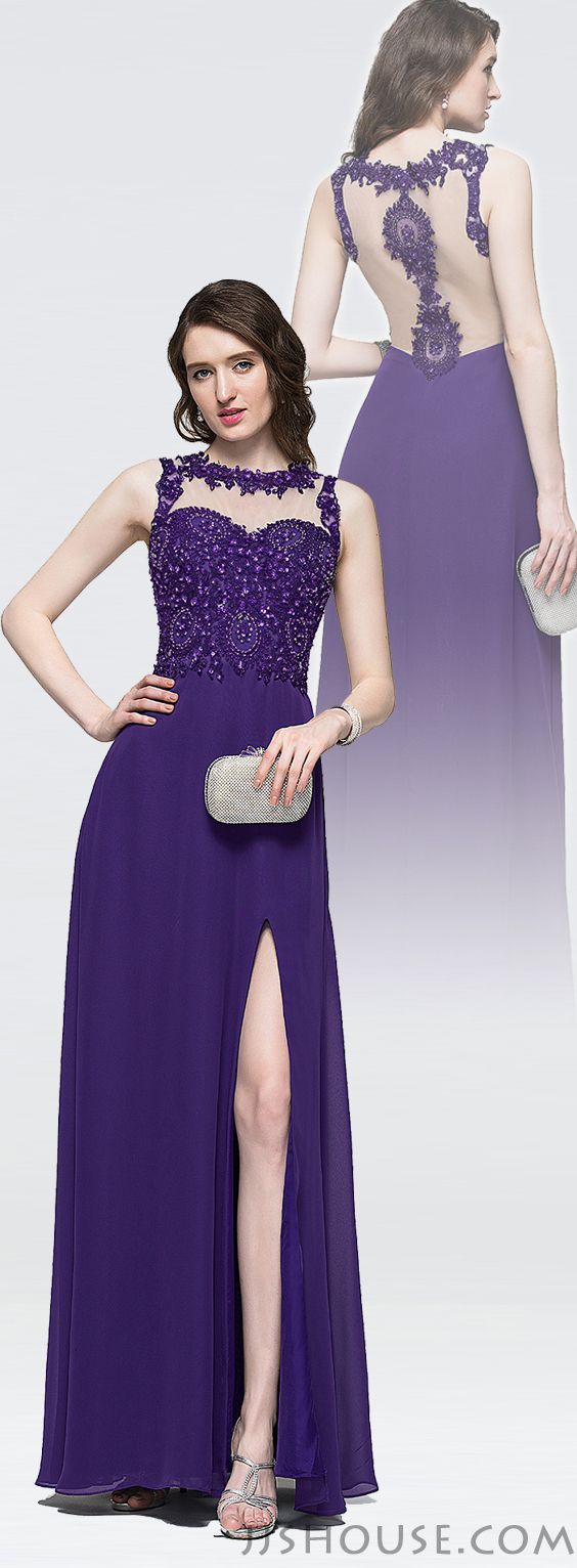 Alineprincess scoop neck floorlength chiffon prom dresses with