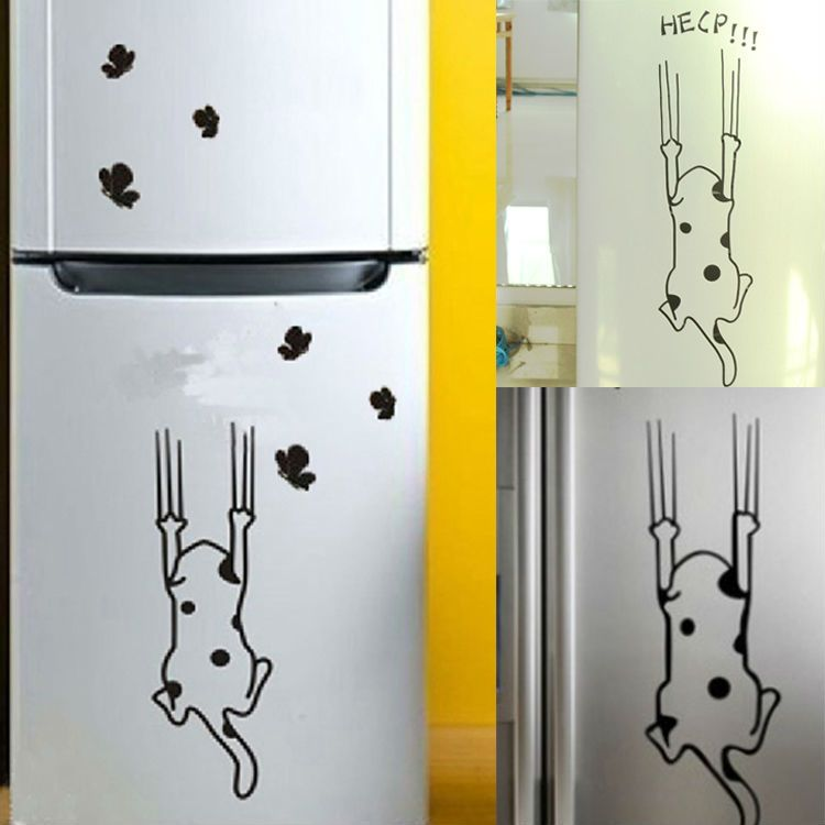 Dekorasi Rumah Kucing Pola Furniture Kaca Stiker Kulkas Dapur Dinding Kabinet