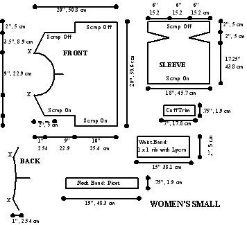 The Garment Shape : Sideway Knit Top Sizing Diagram