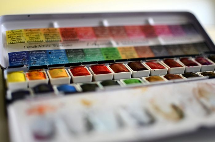 Color Chart Sennelier 24 Half Pans Watercolor Kit Watercolor