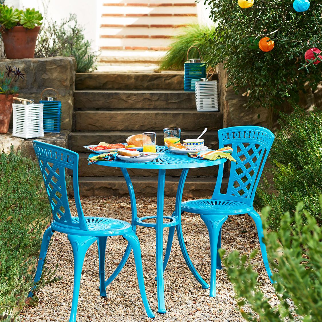Neely Bistro Set Peacock Blue Outdoor Dining Furniture