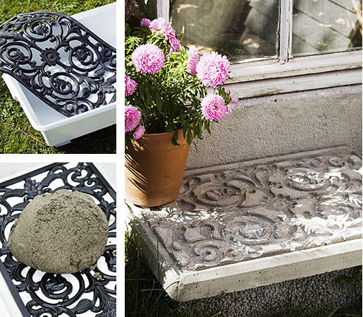 Use A Decorative Door Mat To Stamp Concrete