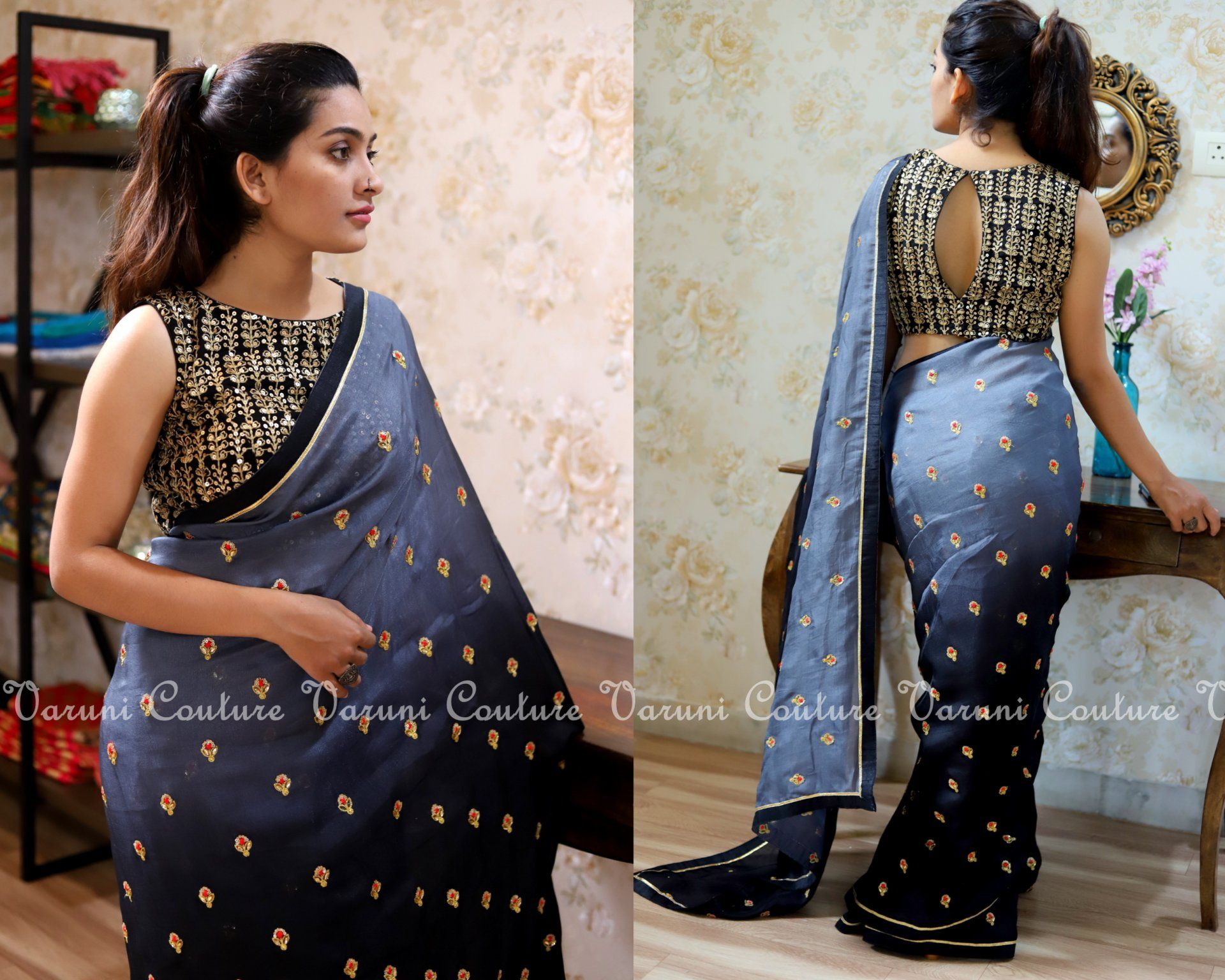 Boat neck lace wedding dress october 2018 Saree Code  Gray blackBlouse  As in the imagePrice  RsKindly