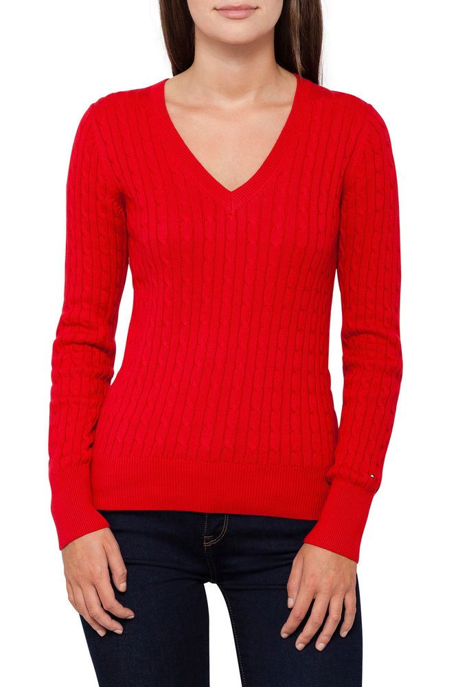 Tommy Hilfiger Womens Red Sweater Cable Knit V-Neck Jumper Cotton ...