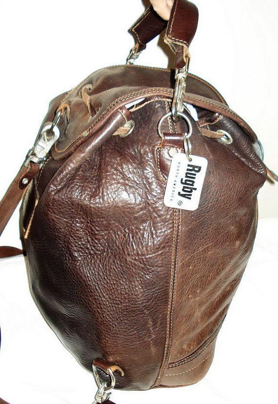 b95602f655 RUGBY Canada Vintage 90 Boho Large Unisex Distressed Brown Leather BACKPACK  shoulder bag by MushkaVintage3