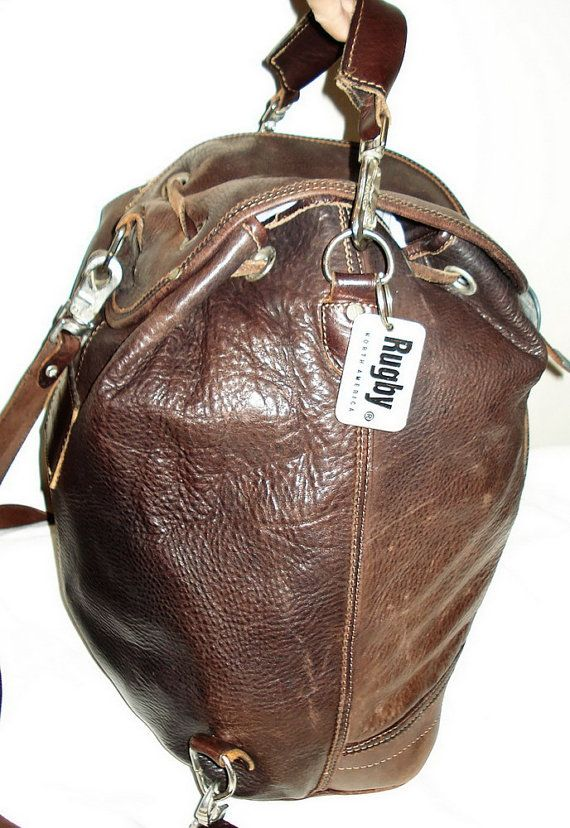 306c104fbe RUGBY Canada Vintage 90 Boho Large Unisex Distressed Brown Leather BACKPACK  shoulder bag by MushkaVintage3