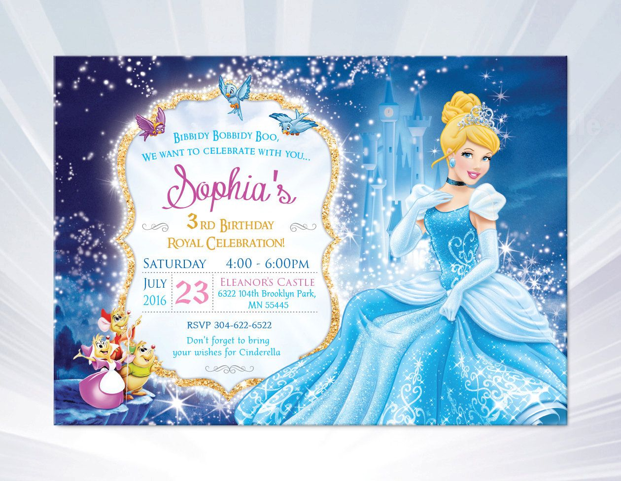 princess Aurora invitation - Sleeping Beauty - princess birthday ...