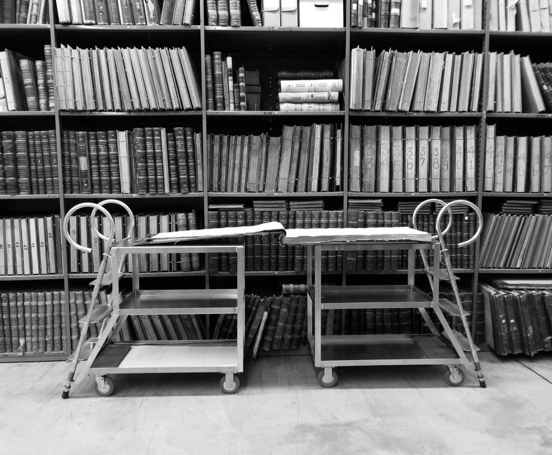 County Tax Assessor/poll book on carts. These books are