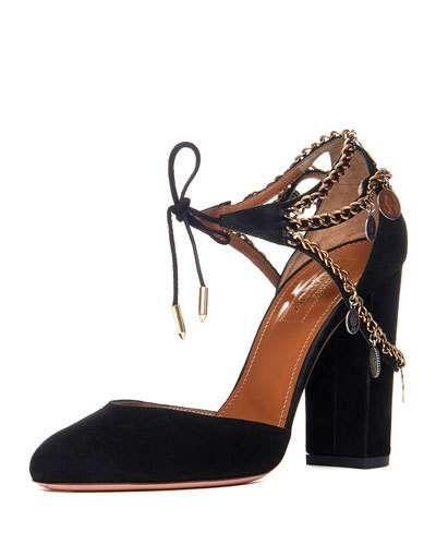 AQUAZZURA Flamenco Chained Suede Pump, Black. #aquazzura #shoes #pumps