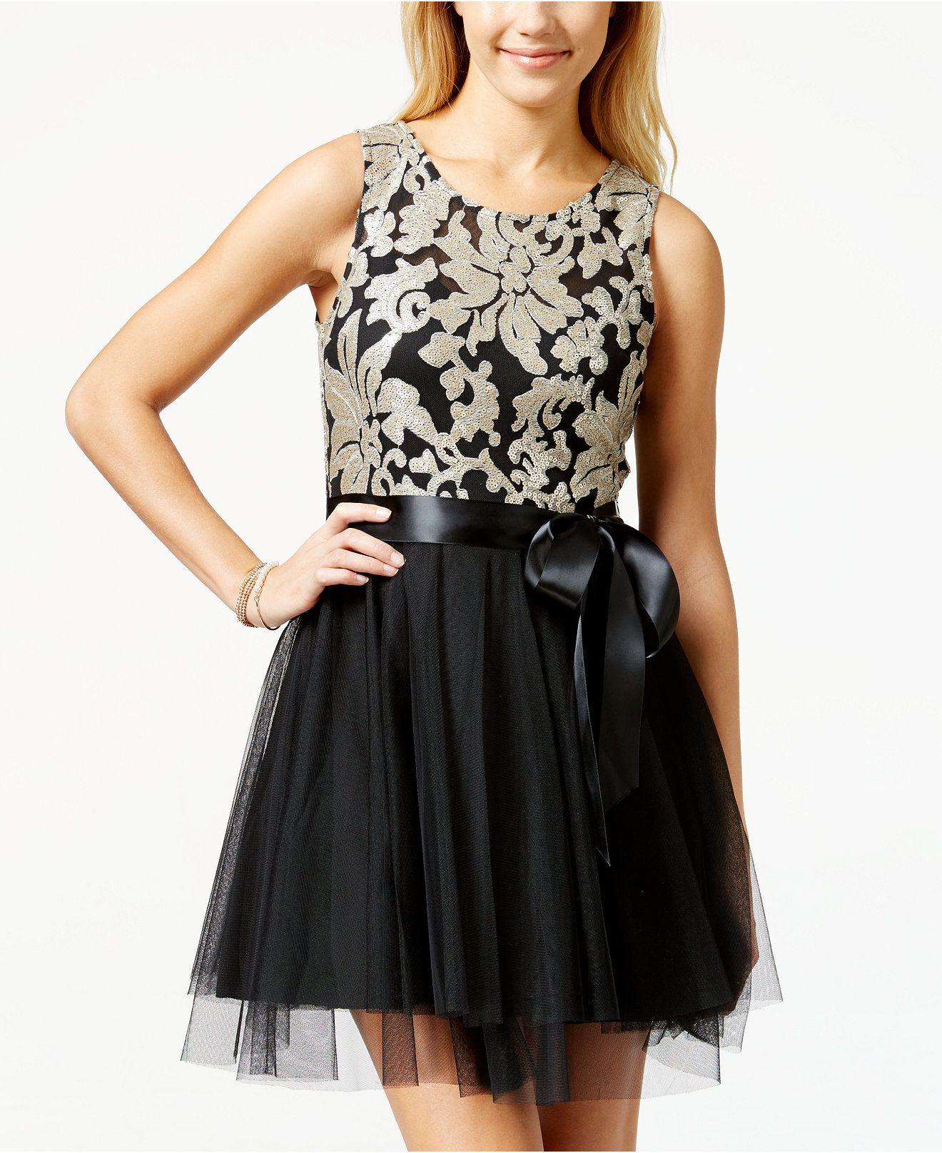 Teeze me juniorsu sequin embroidered ballerina dress juniors
