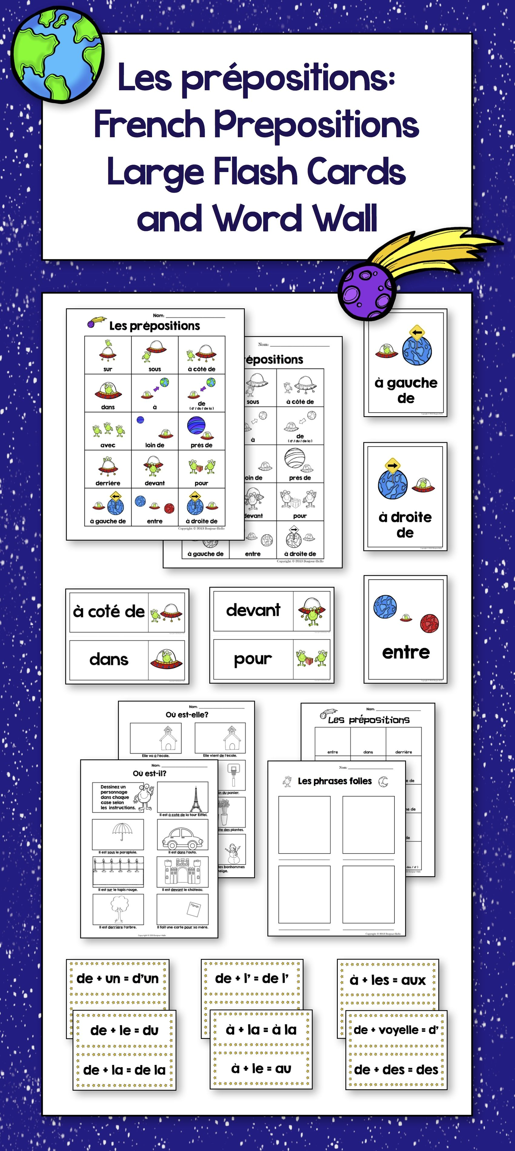 Les Prepositions French Prepositions Large Flash Cards And Word Wall
