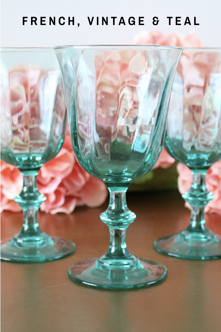 A Beautiful And Rare Set Of Three French Wine Glasses In A Rare Teal Colored Glass With A Slight Swirl Vintage Wine Glasses Colored Glassware Vintage Glassware
