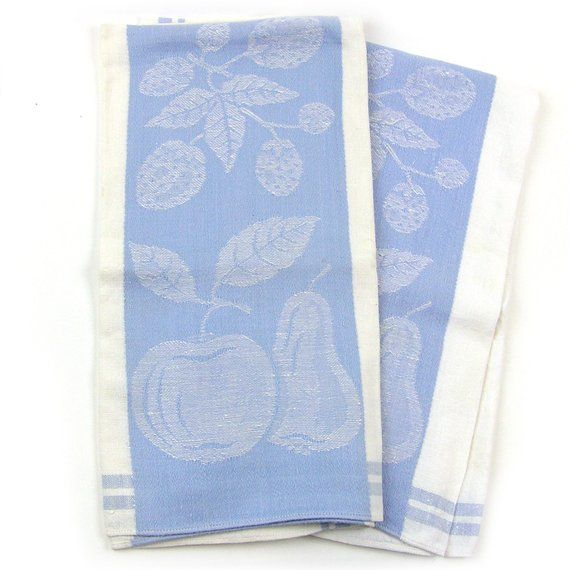 Vintage 1940s Dish Towels Country Kitchen Towels Blue And White
