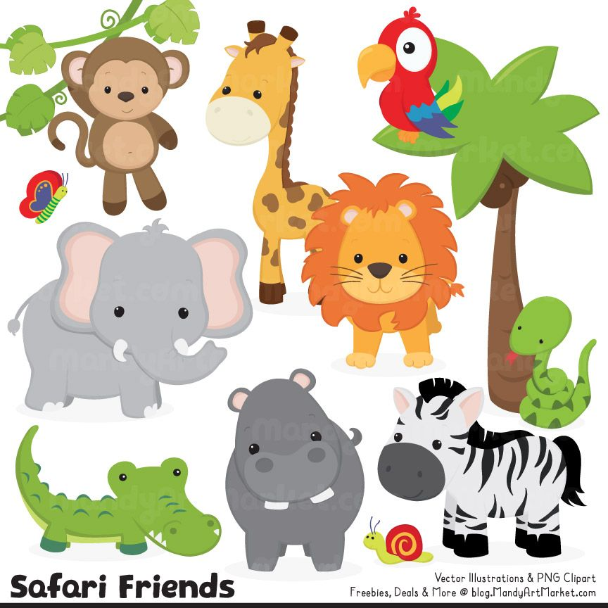 These Cute Jungle Animals Are Definitely That Look At The Adorable Monkeys Face And The Not So Scary Fierce Lion Animal Clipart Safari Animals Jungle Animals