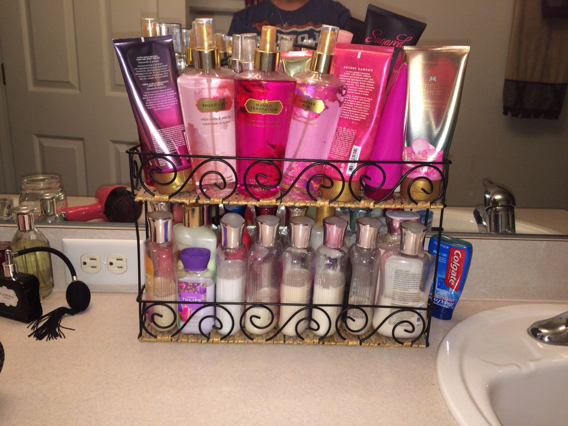 Organize Display All Your Lotions Body Mists In Cute Basket Lotion Organization Perfume Organization Perfume Storage