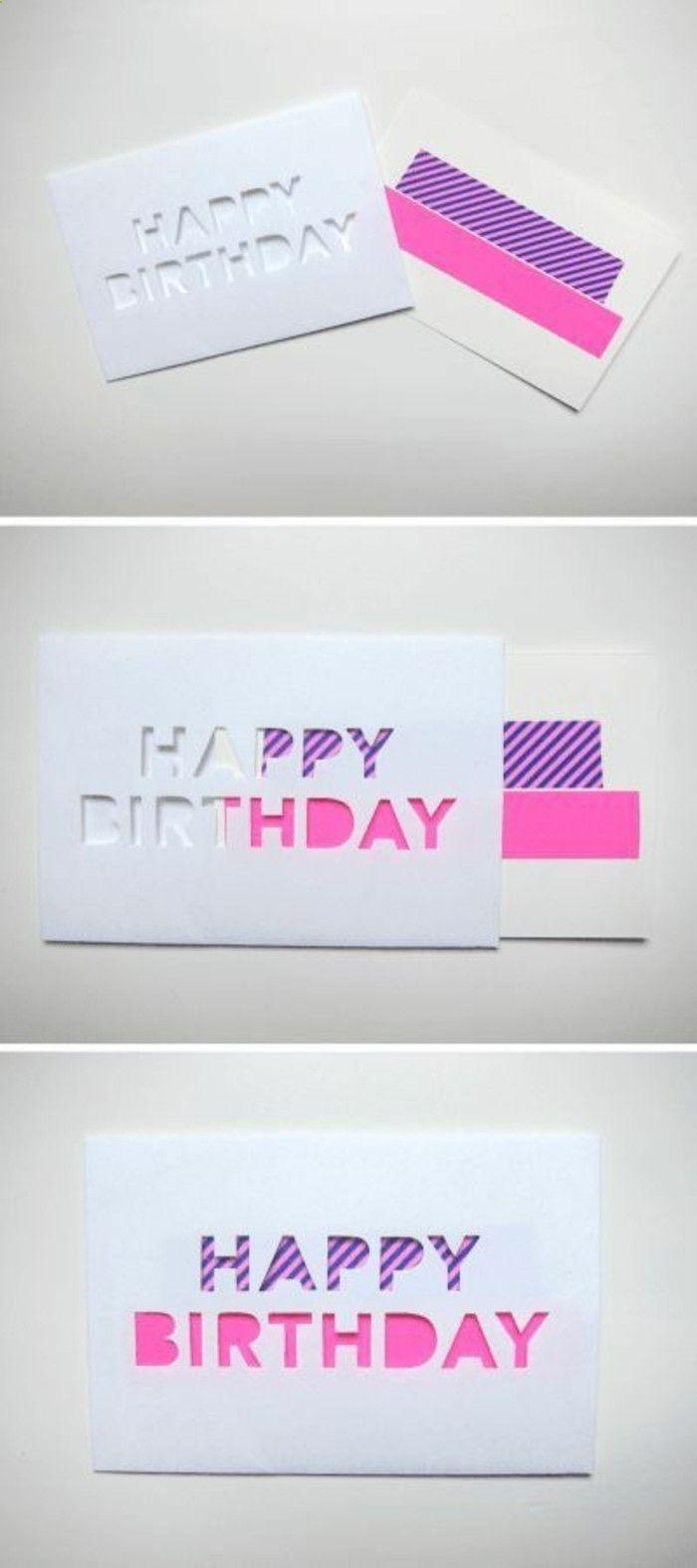 idee de carte danniversaire simple et esthétique à fabriquer soi meme, message Joyeux Anniversaire, écrit avec des lettres en scotch décoratif