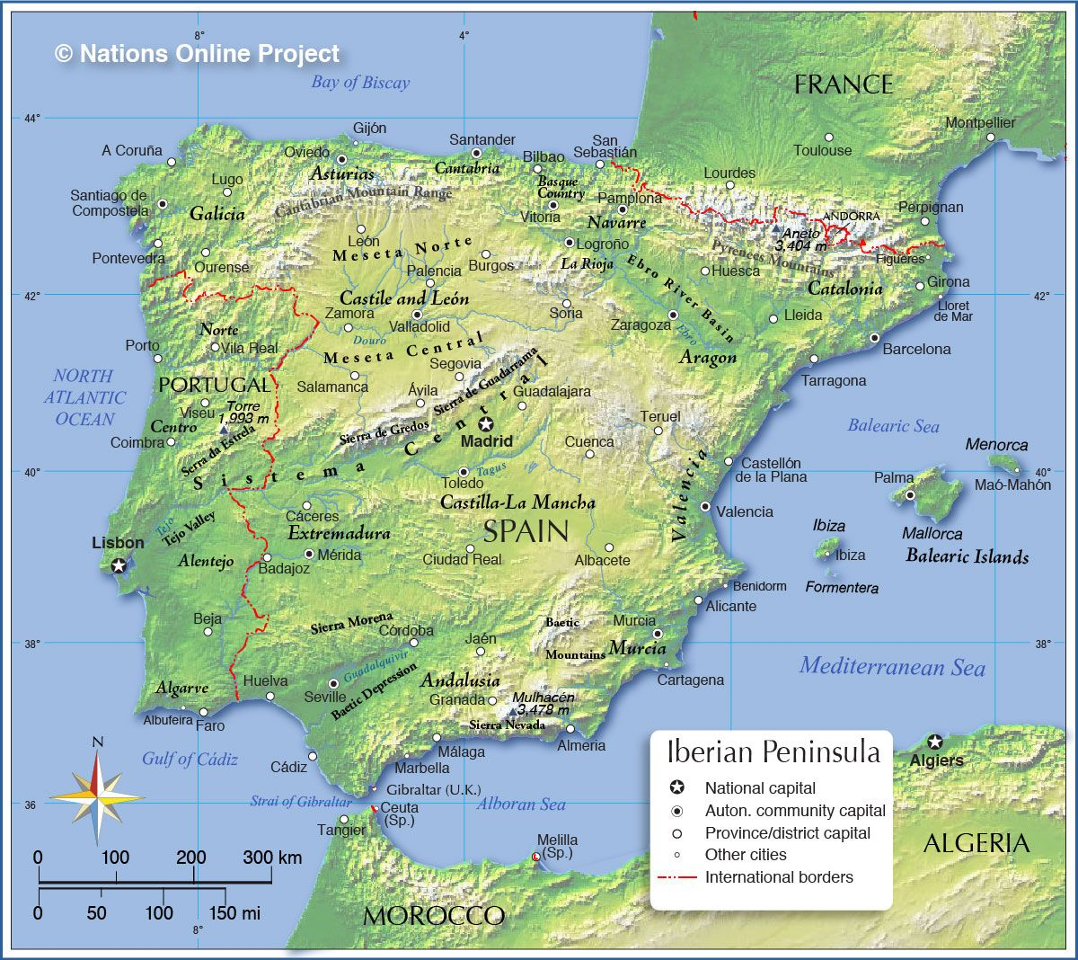Topographic Map Of Colombia.Topographic Map Of Spain Nations Online Project Fantasy Maps