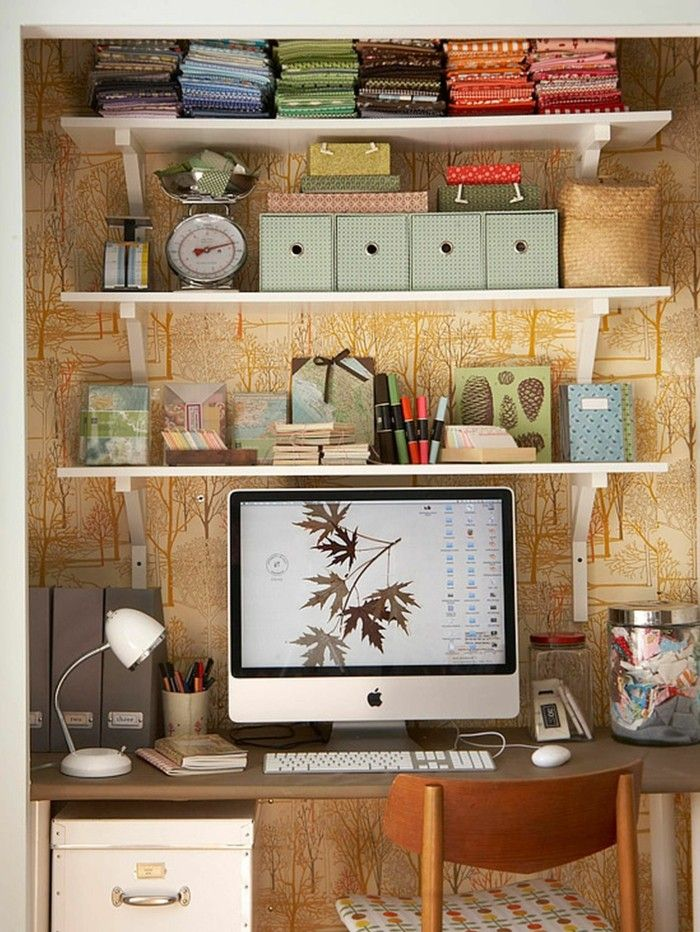 Home Office Einrichten Offene Regale Kisten. Modern Office DesignModern ...