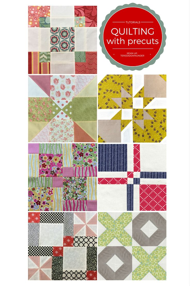 7 video tutorials for quilting with pre cuts- charm square blocks