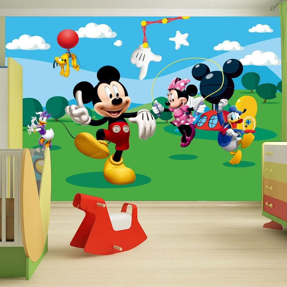 Disney mickey mouse bedroom accessories bedding for Disney mural wallpaper