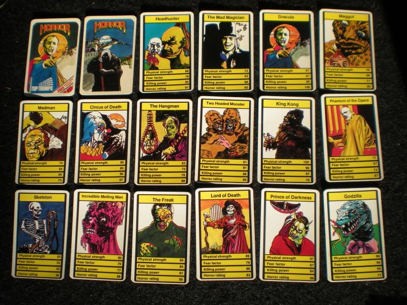 Horror Top Trumps card game